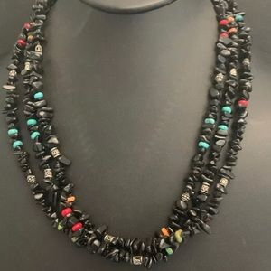Jewelry - Sterling Silver 3 Strand Black Onyx Bead Necklace